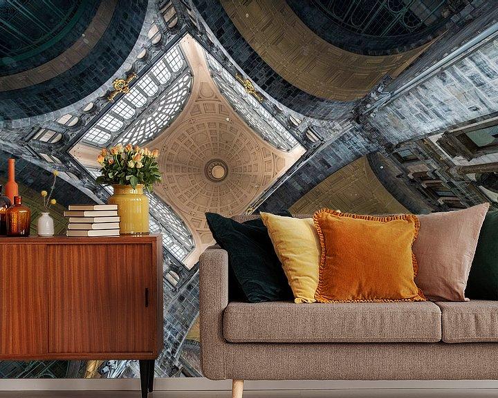 Sfeerimpressie behang: stationplafond symetrie van Brian Morgan