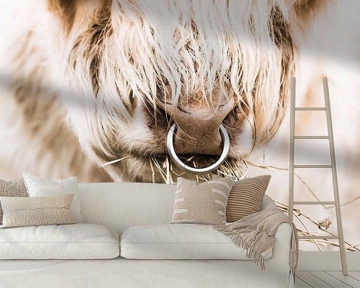 Sfeerimpressie behang: Schotse hooglander stier van Erica Kuiper