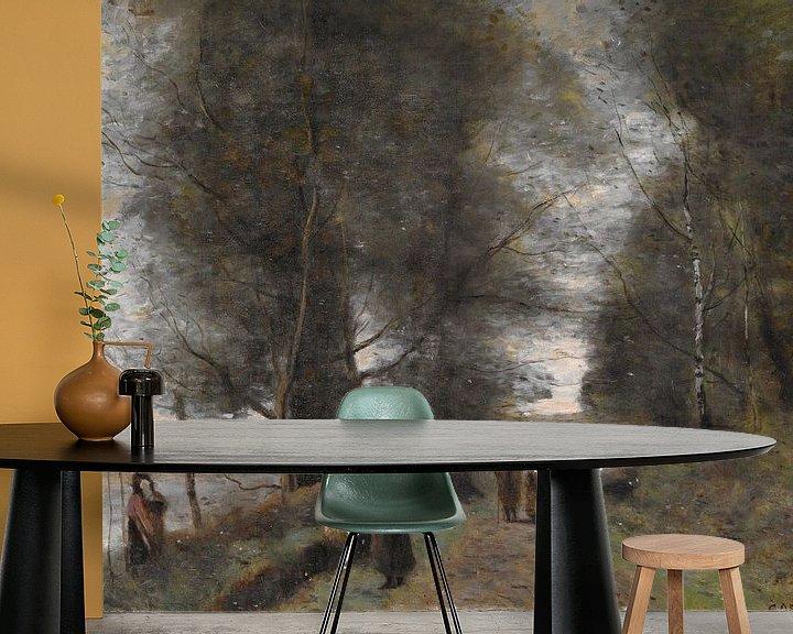 Beispiel fototapete: Ville d'Avray, Forststraße am Rande des Teiches, Jean-Baptiste-Camille Corot
