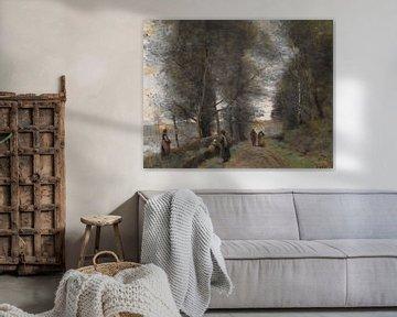 Ville d'Avray, Forststraße am Rande des Teiches, Jean-Baptiste-Camille Corot