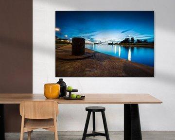 Blauwe avond boven de haven van Harderwijk van Fotografiecor .nl