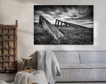Ehemalige Eisbrecher auf der ehemaligen Insel Schokland von Fotografiecor .nl