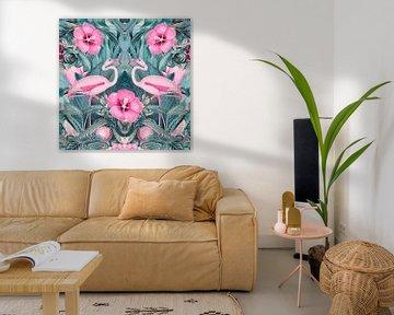 Flamingo Symetrie von Andrea Haase