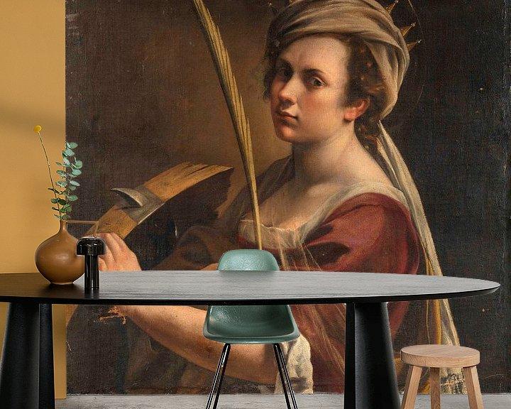 Beispiel fototapete: Selbstbildnis als Heilige Katharina von Alexandria, Artemisia Gentileschi