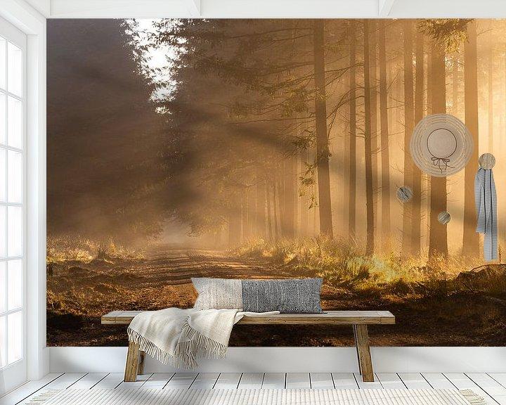 Sfeerimpressie behang: Zonnestralen in het bos op een mistige ochtend van Theo Klos