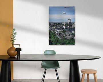 Skyline Rotterdam in groen en wit van vedar cvetanovic