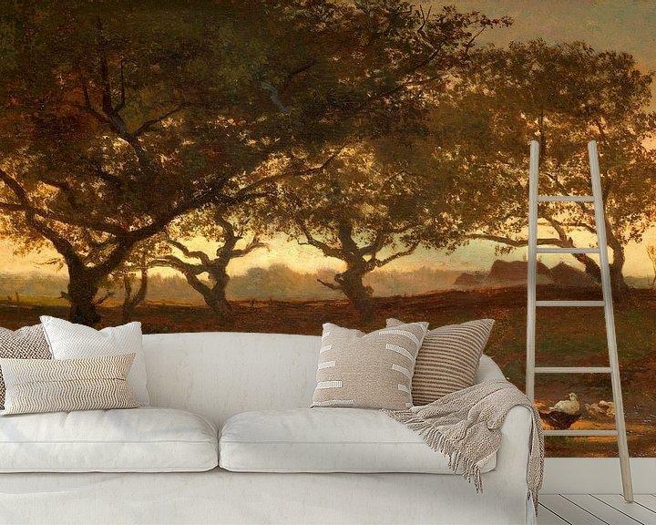 Sfeerimpressie behang: Bosvijver bij zonsondergang, Gerard Bilders