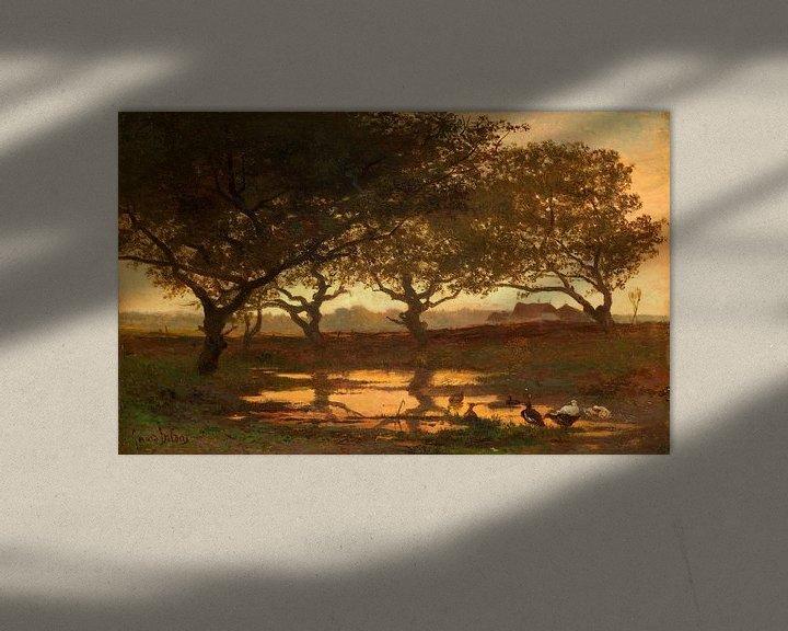 Sfeerimpressie: Bosvijver bij zonsondergang, Gerard Bilders