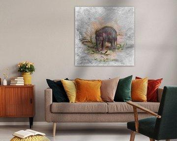 Artistic Animal Baby Elephant von Angelika Möthrath