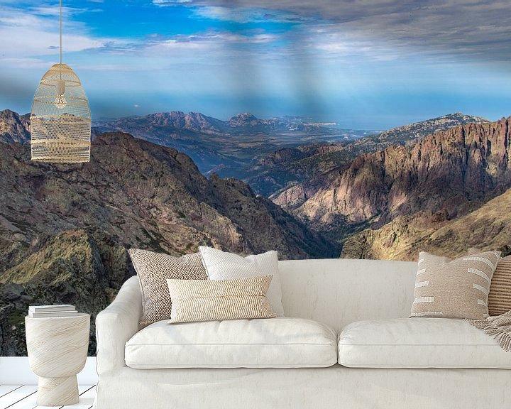 Sfeerimpressie behang: Uitzicht op Calvi op Corsica van Martijn Joosse