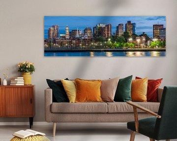 BOSTON Avond skyline van North End & Financial District | Panorama van Melanie Viola