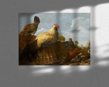 Hahn und Hühner in einer Landschaft, Gijsbert Gillisz d'Hondecoeter