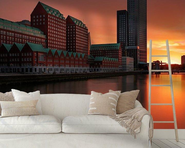 Sfeerimpressie behang: Kop van Zuid in Rotterdam van Steven Dijkshoorn