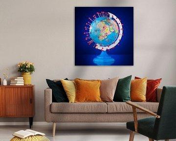 Foto van een wereldbol met heel veel plaatsmarkeringen