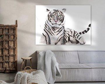 Druck eines weißen Tigers, spezielle Tierillustration von Angela Peters