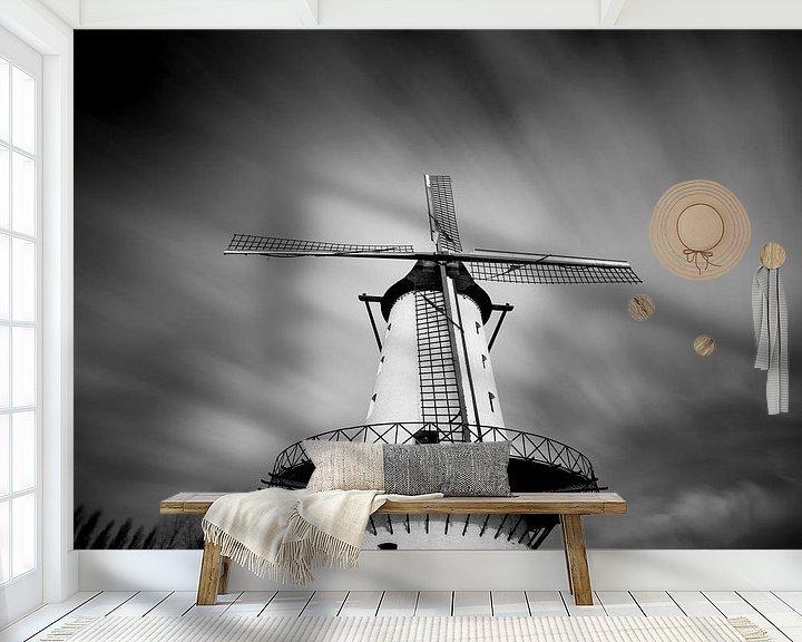 Sfeerimpressie behang: molen de goede hoop in Menen van Fotografie Krist / Top Foto Vlaanderen