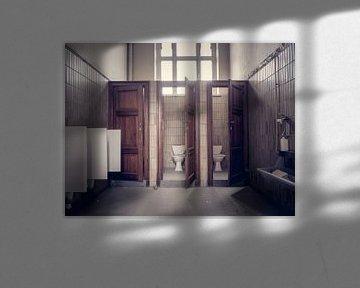 Verlaten School, België - Urbex / Verval / Oud / Graffiti / Street Art / Universiteit / Toilet / WC  van Art By Dominic