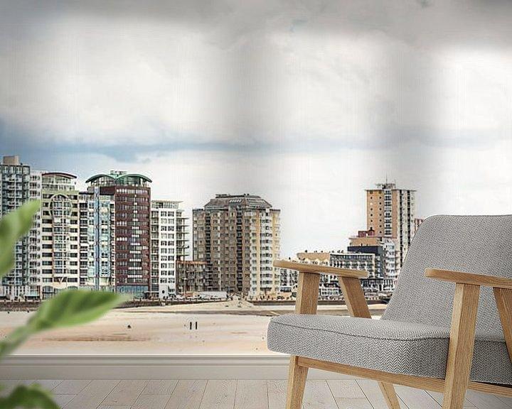 Sfeerimpressie behang: Skyline van de boulevard van Vlissingen (Zeeland) (panorama) van Fotografie Jeronimo