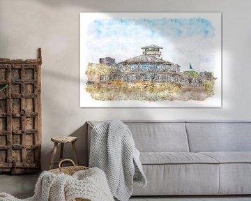 Strandpavillon Panta Rhei Vlissngen (Zeeland) (Aquarell) von Art by Jeronimo