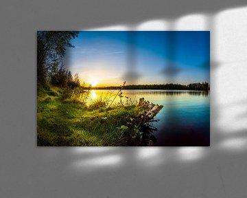 Sunset at the lake van Günter Albers