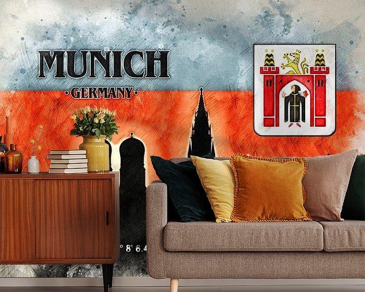 Sfeerimpressie behang: München van Printed Artings