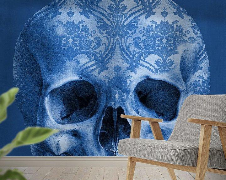 Sfeerimpressie behang: The Delftblue Skull van Marja van den Hurk