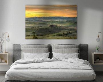 Morgenstimmung im Val d'Orcia, Toskana von Michael Valjak