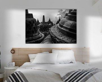 Sfeervolle plaat van details in de Borobudur tempel van Arthur Puls Photography