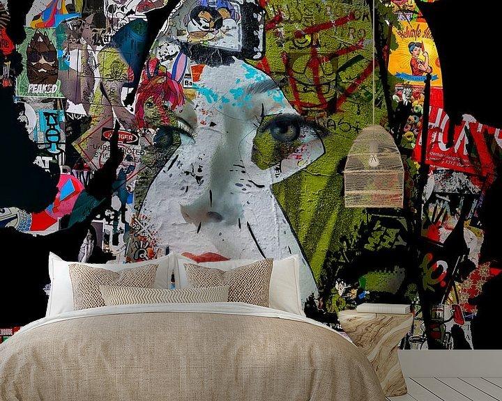 Sfeerimpressie behang: Red lips and stickers van Gabi Hampe