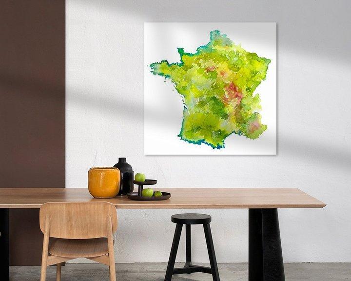 Sfeerimpressie: Frankrijk | Landkaart als aquarel schilderij van Wereldkaarten.Shop
