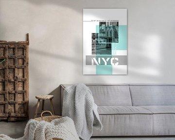 Poster Art NYC Brooklyn Bridge & Skyline von Melanie Viola
