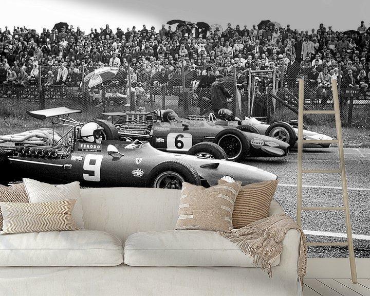 Sfeerimpressie behang: 1e Startrij Grand Prix 1968 Zandvoort van Harry Hadders
