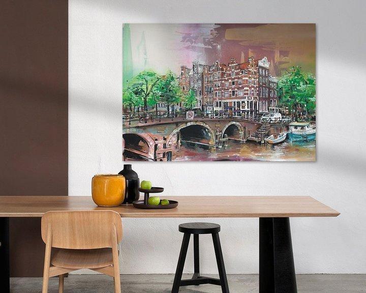 Sfeerimpressie: Amsterdam (the Netherlands) schilderij van Jos Hoppenbrouwers