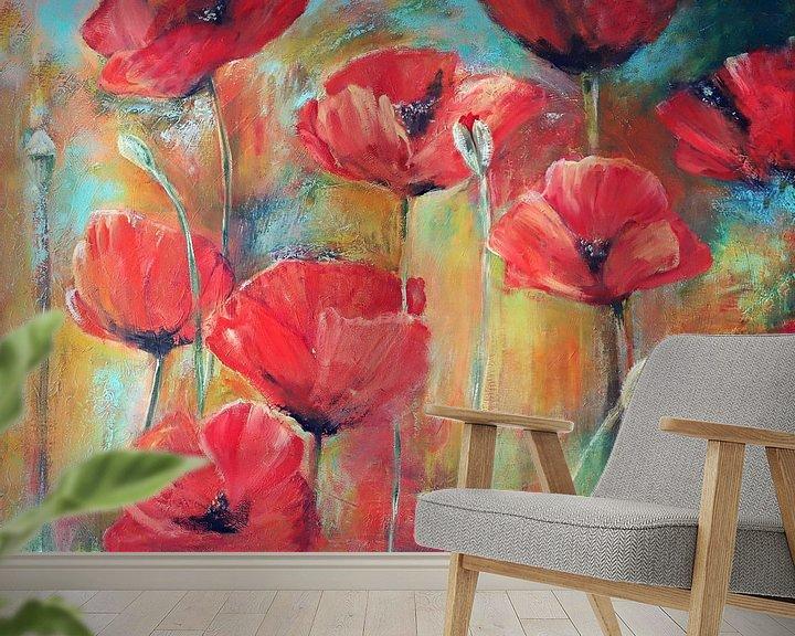 Beispiel fototapete: klaprozen in het veld.. ( poppies in the field) painting von Els Fonteine
