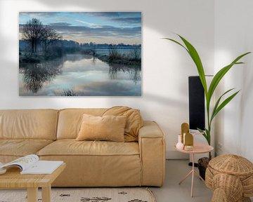 landschap in het blauwe uurtje von eric brouwer