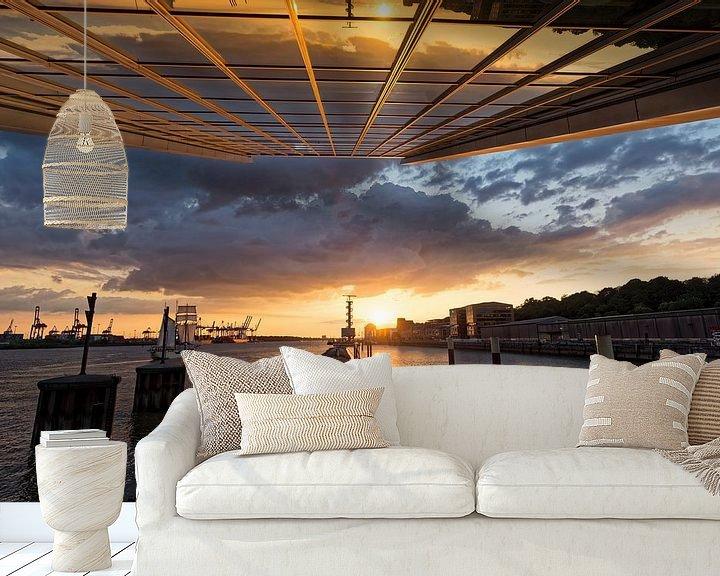 Beispiel fototapete: Sonnenuntergang am Dockland von Borg Enders