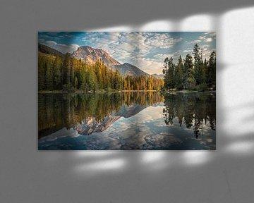 Reflectie van de bergen #2 van Edwin Mooijaart
