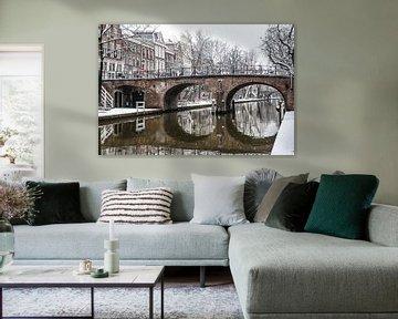 Smeebrug over Oudegracht Utrecht in de winter