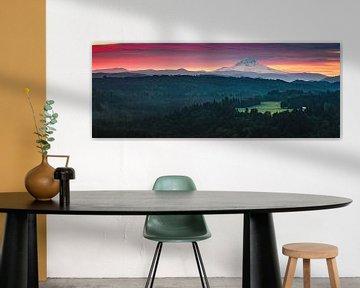 Panorama zonsopkomst Mount Hood, Oregon van Henk Meijer Photography
