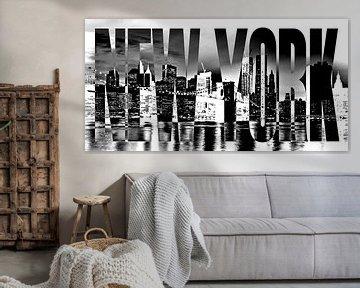 New York Brooklyn Bridge Skyline schwarz weiß von Bass Artist