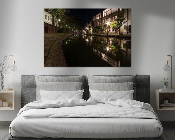 Sfeerimpressie: De Oudegracht bij nacht - Utrecht, Nederland van Thijs van den Broek
