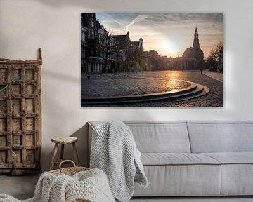 Vismarkt Groningen bij Zonsondergang van Frenk Volt