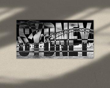 Sydney Opernhaus Harbour Bridge schwarz weiß von Bass Artist