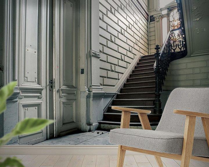 Sfeerimpressie behang: Trap in Verlaten Villa, België van Art By Dominic