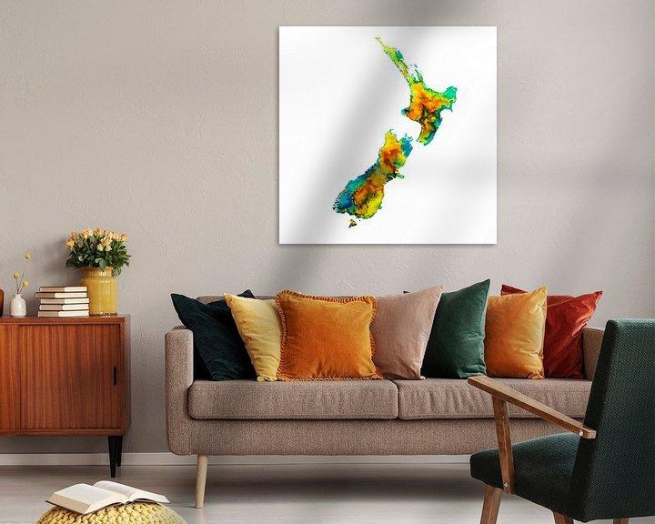 Beispiel: Neuseeland | Bunte Landkarte in Wasserfarbe | Gelb und Grün von Wereldkaarten.Shop