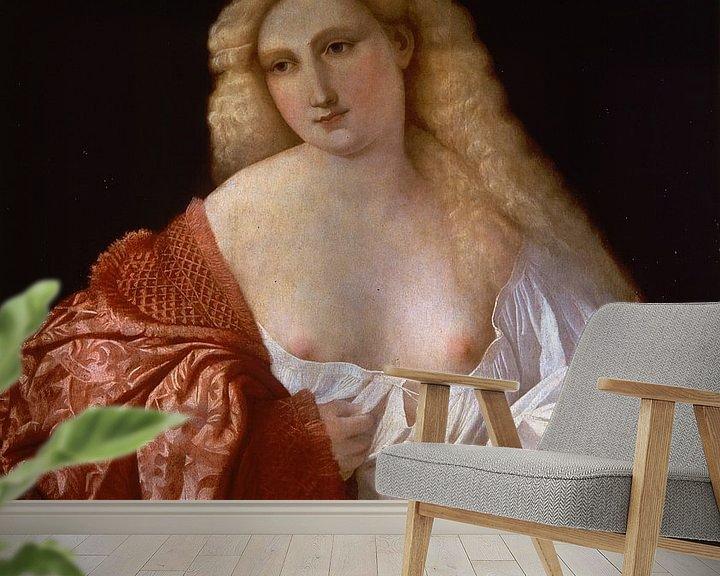 Beispiel fototapete: Portrait of a Woman known as Portrait of a Courtesan, Palma Vecchio