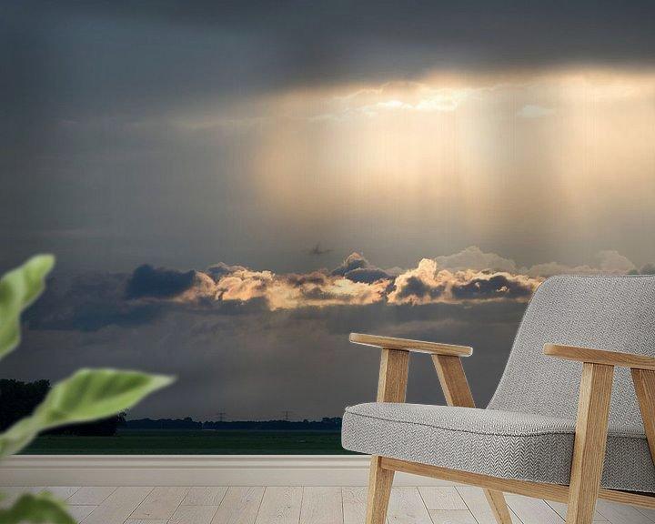Beispiel fototapete: Sonnenstrahlen und Wolken von Anjo ten Kate