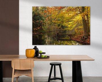 Een houten dok met Herfstkleuren van Dennis  Georgiev