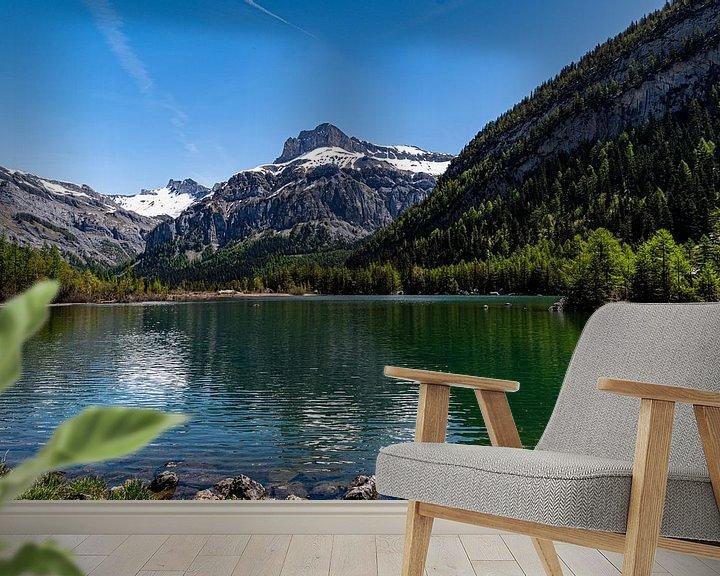 Sfeerimpressie behang: Lac de Derborance (1), Zwitserland van Ingrid Aanen