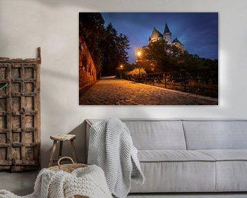 Kasteel Vianden, Luxemburg tijdens het blauwe uur